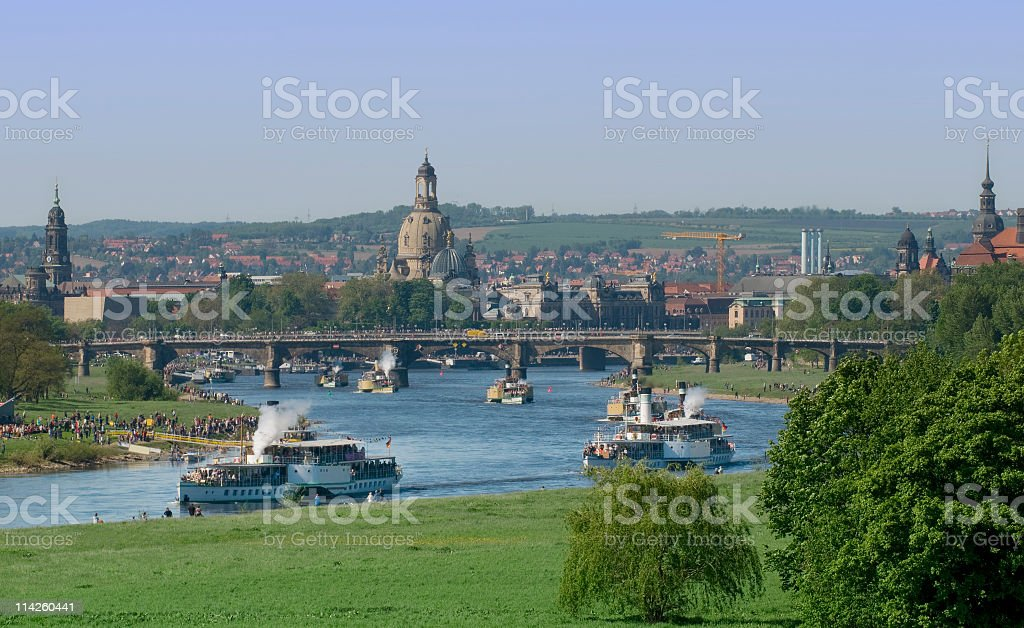 Traditional steamboat parade on the elbe river in Dresden, Germany stock photo