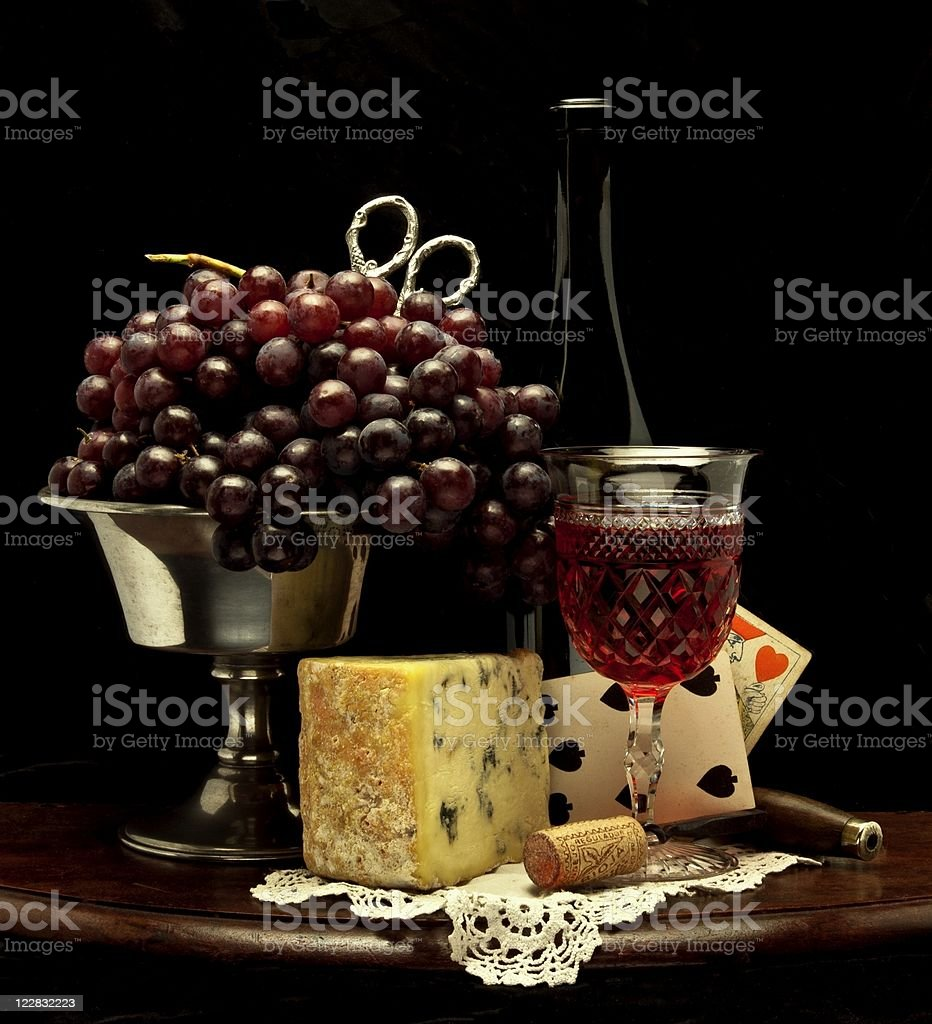 Traditional Still Life with Wine and Grapes royalty-free stock photo