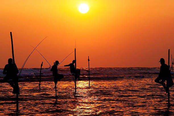 perna-longa pescadores tradicionais, o pôr do sol nea - fishman imagens e fotografias de stock