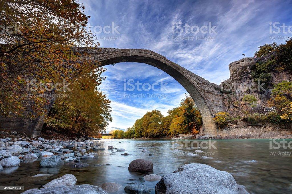 Traditional stone bridge in Konitsa, northern Greece stock photo
