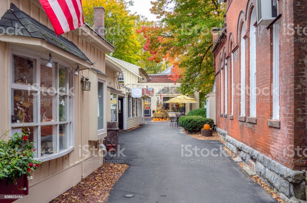 Traditional Stores along a Narrow Alley stock photo