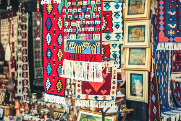 Traditional stores in Sarajevo on Bascarsija, with a variety of souvenirs and authenticity stock photo