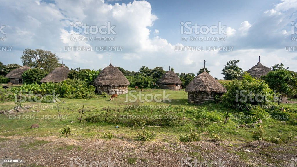 Traditional straw huts in the Omo Valley of Ethiopia stock photo
