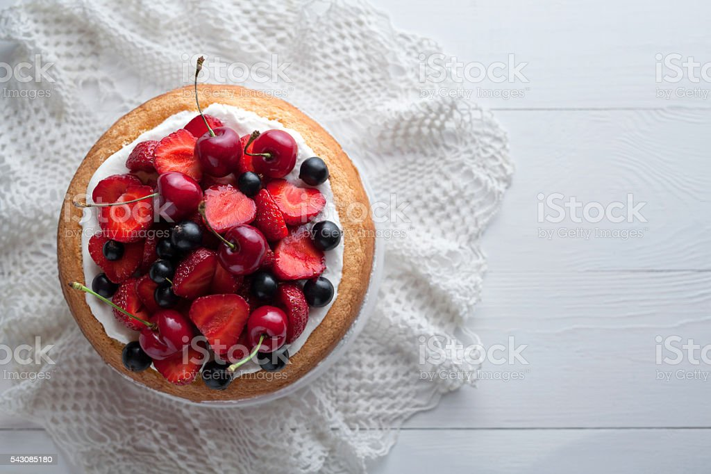 Traditional strawberry cake homemade gourmet sweet dessert bakery food stock photo