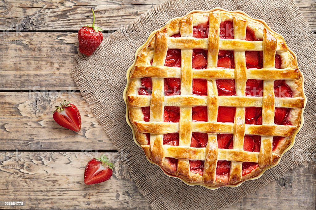 Traditional strawberry pie tart cake sweet baked pastry food stock photo