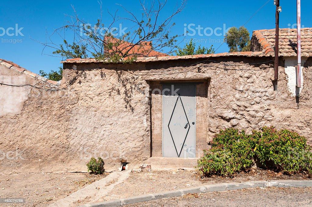 Traditional street in a small hamlet in La Mancha stock photo