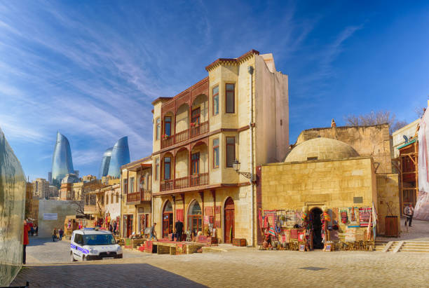 traditional street in Baku's old town stock photo