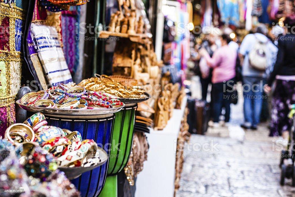 Traditional street market in Jerusalem, Israel. stock photo