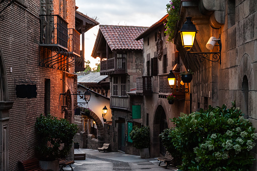 Traditional street of medieval Spanish village at Barcelona town, Catalonia, Spain