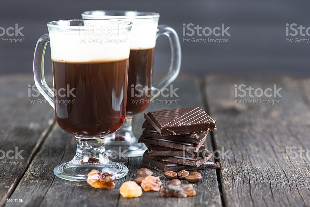 traditional strong irish coffee stock photo