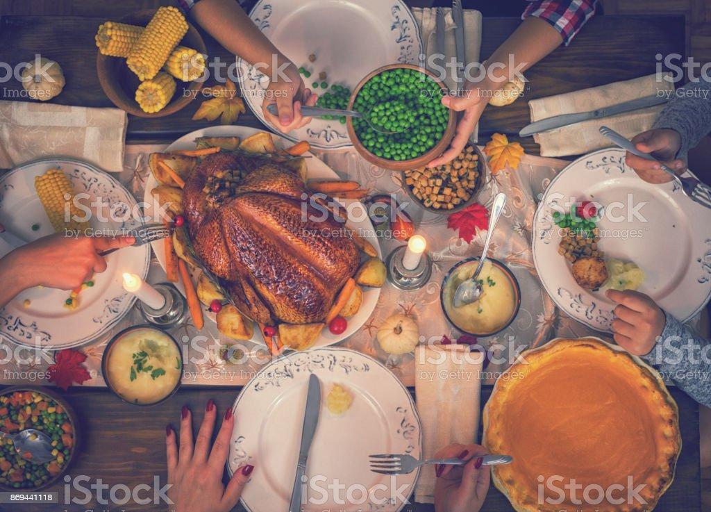 Traditional Stuffed Thanksgiving Turkey Dinner stock photo