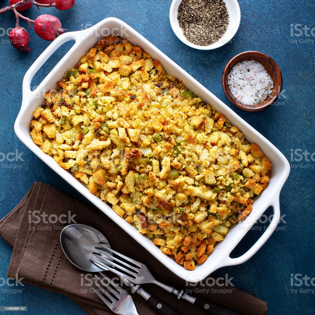 Traditional stuffing for Thanksgiving or Christmas stock photo
