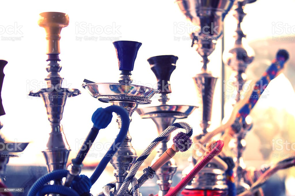 Traditional style Sheesha pipes. stock photo