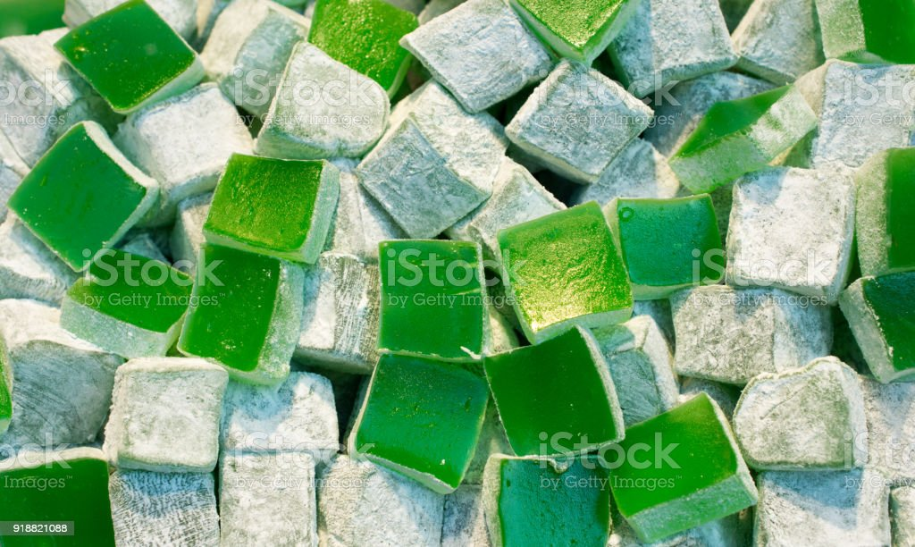 Traditional style turkish delight sweets stock photo