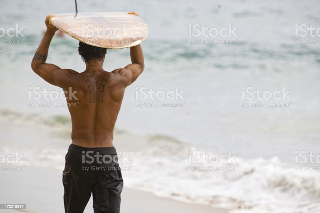 Traditional Surfer stock photo