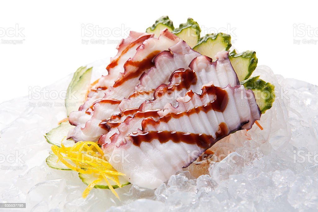 traditional sushi sashimi on a white background stock photo
