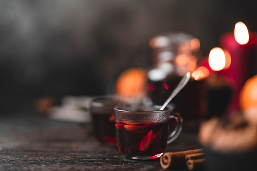Traditional Swedish glögg mulled wine at Christmas