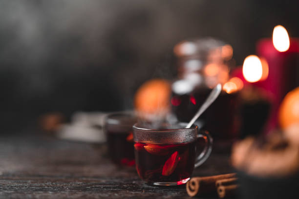 traditional swedish glögg mulled wine at christmas - mulled wine stock photos and pictures