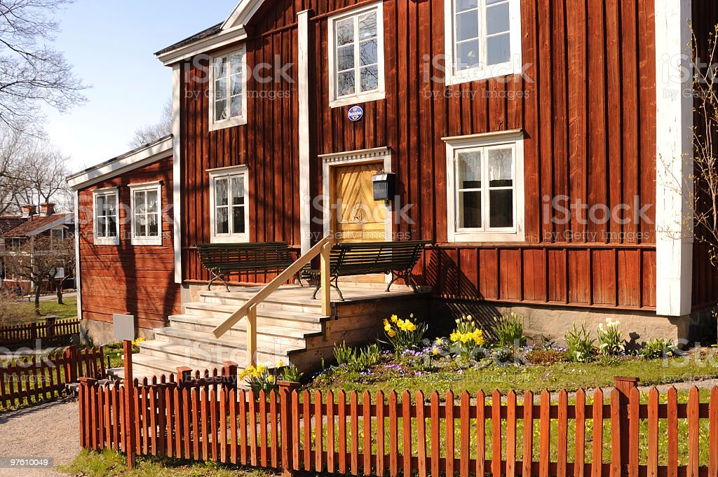 Traditional Swedish house in Astrid Lindgren style royalty-free stock photo