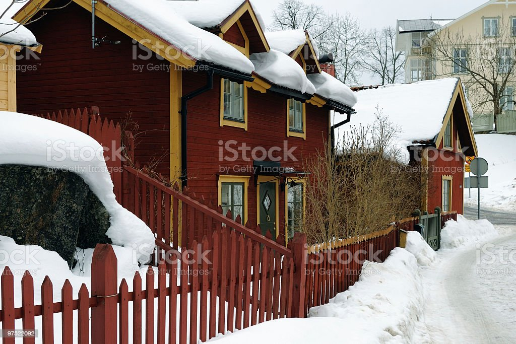 Traditional Swedish house in snow royalty-free stock photo