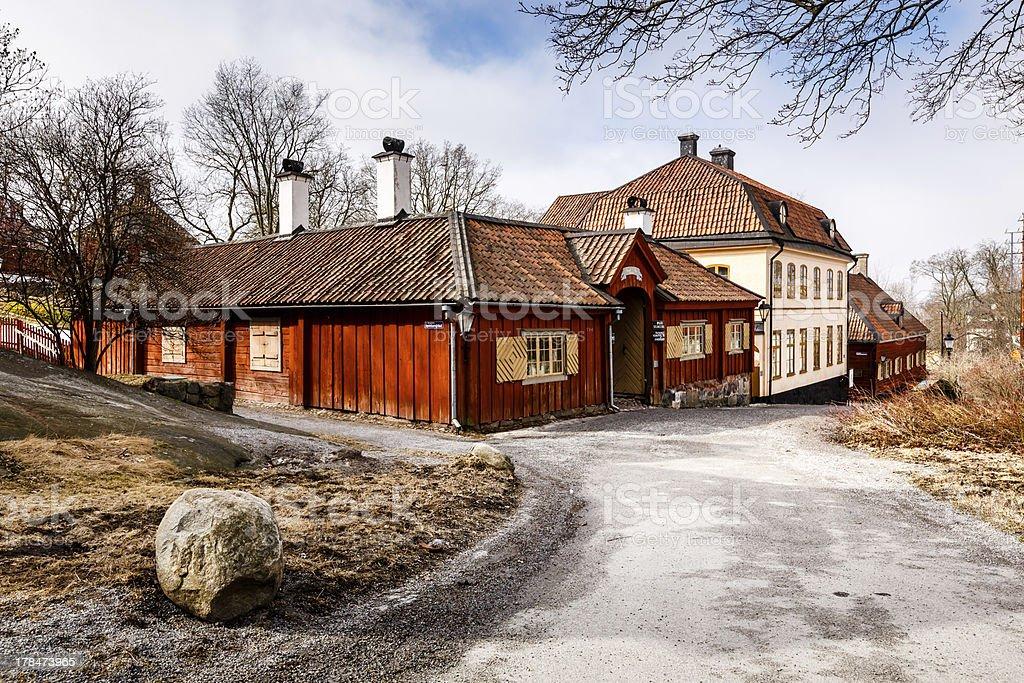 Traditional Swedish Houses in Skansen National Park, Stockholm stock photo
