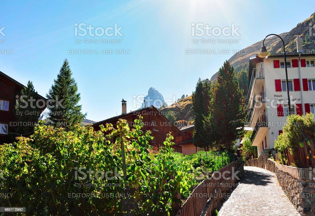 Traditional Swiss Chalets at Zermatt and Matterhorn summit CH zbiór zdjęć royalty-free