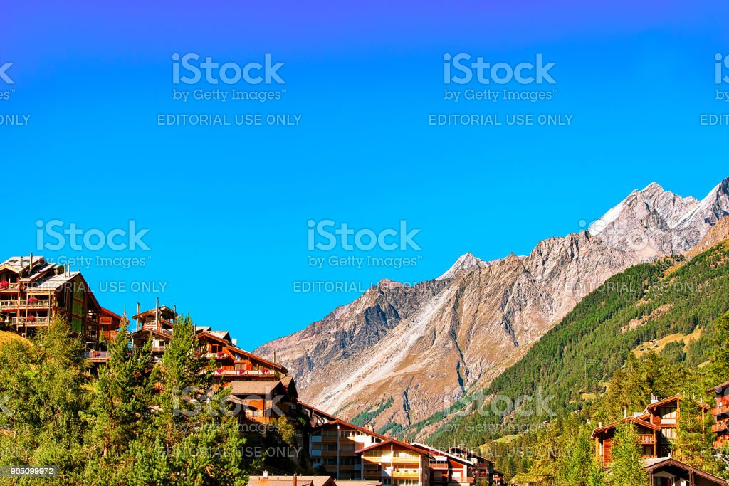 Traditional Swiss chalets resort city Zermatt in CH zbiór zdjęć royalty-free