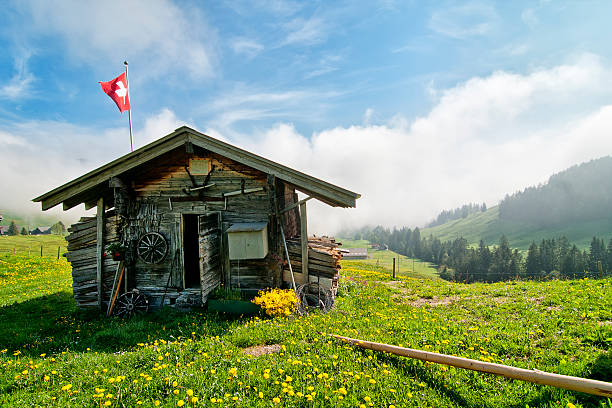 Traditional Swiss hut stock photo