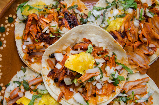 Traditional tacos al pastor Authentic mexican tacos al pastorTraditional mexican tacos al pastor mexican culture stock pictures, royalty-free photos & images