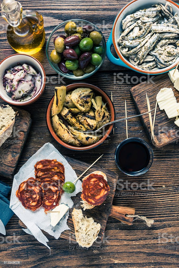 Traditional tapas served for share with friends stock photo