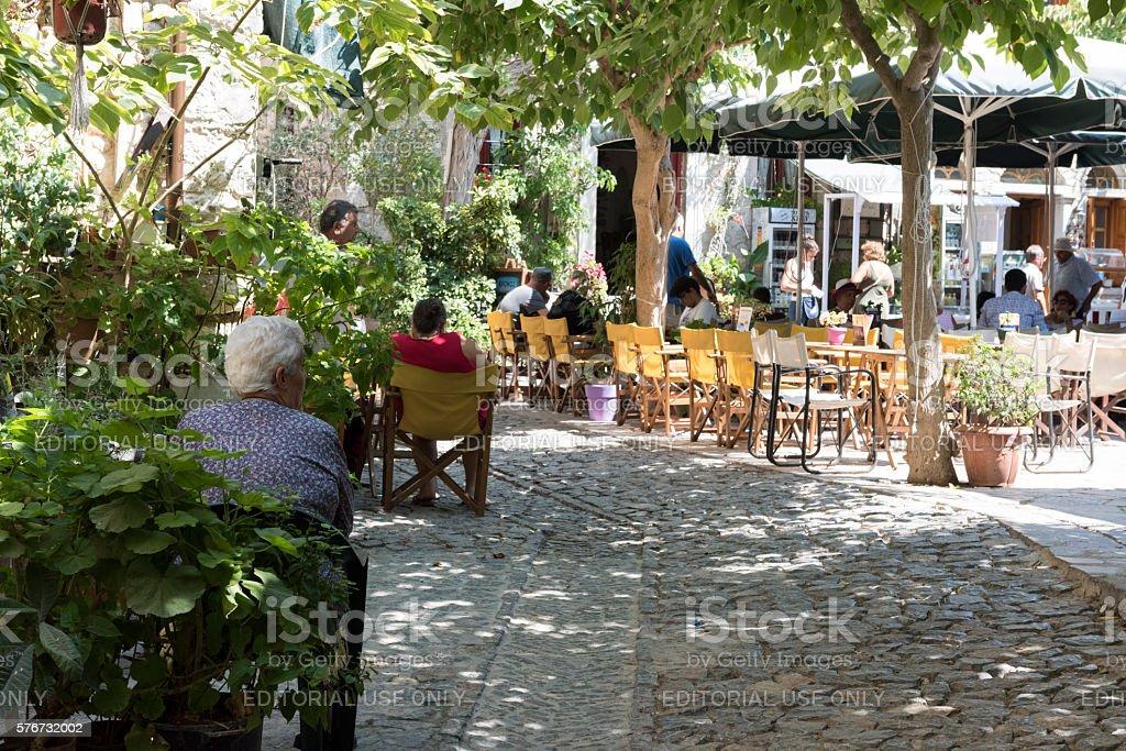 Traditional taverna on Greek Island stock photo