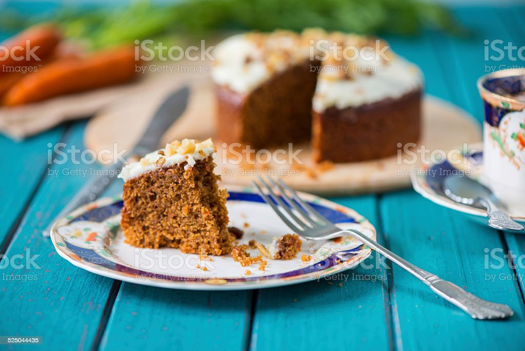 Traditional tea and carrot cake - Royalty-free Backgrounds Stock Photo