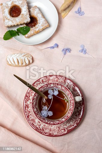 1189561410 istock photo Traditional tea with mint and assorted Arab sweets 1186962142
