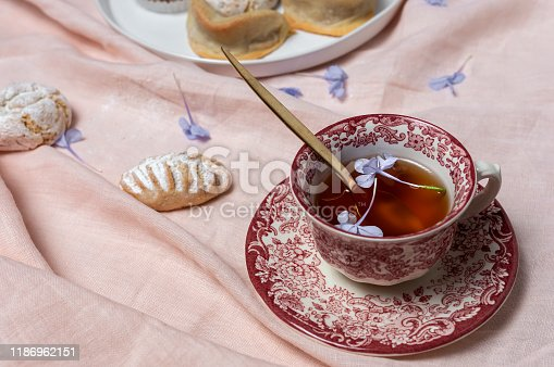 1189561410 istock photo Traditional tea with mint and assorted Arab sweets 1186962151