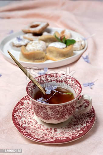 1189561410 istock photo Traditional tea with mint and assorted Arab sweets 1186962165