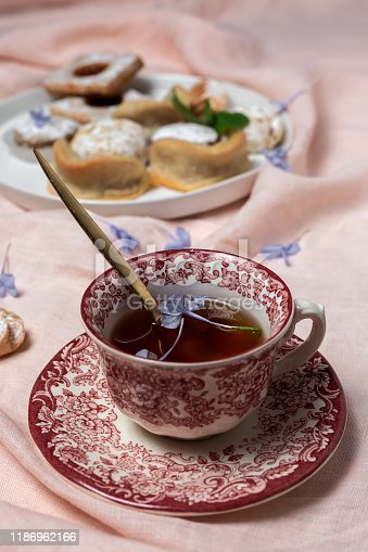 1189561410 istock photo Traditional tea with mint and assorted Arab sweets 1186962166