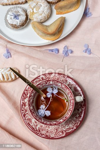 1189561410 istock photo Traditional tea with mint and assorted Arab sweets 1186962169