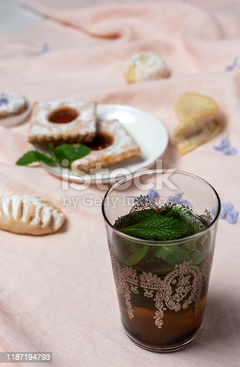 1189561410 istock photo Traditional tea with mint and assorted Arab sweets 1187194793