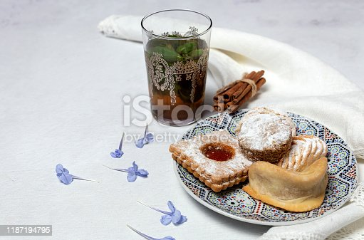 1189561410 istock photo Traditional tea with mint and assorted Arab sweets 1187194795