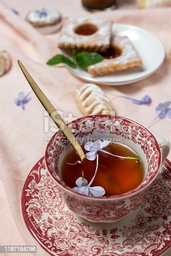 1189561410 istock photo Traditional tea with mint and assorted Arab sweets 1187194798