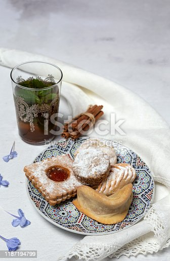 1189561410 istock photo Traditional tea with mint and assorted Arab sweets 1187194799