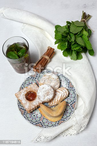 1189561410 istock photo Traditional tea with mint and assorted Arab sweets 1187194815