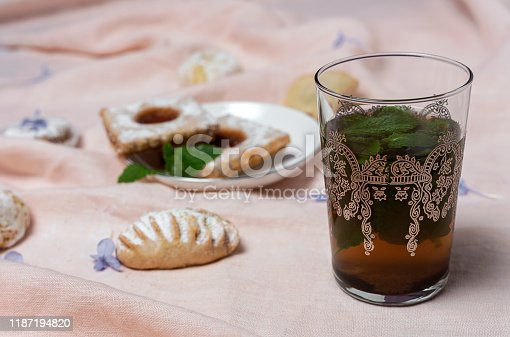 1189561410 istock photo Traditional tea with mint and assorted Arab sweets 1187194820