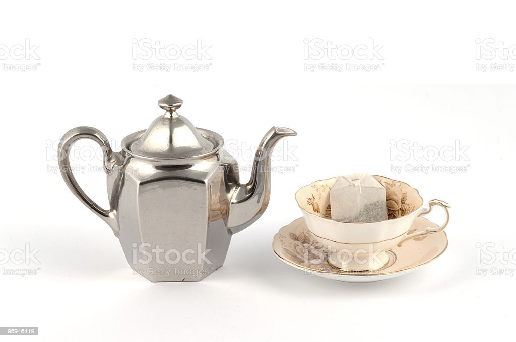Traditional Teacup and Teapot stock photo
