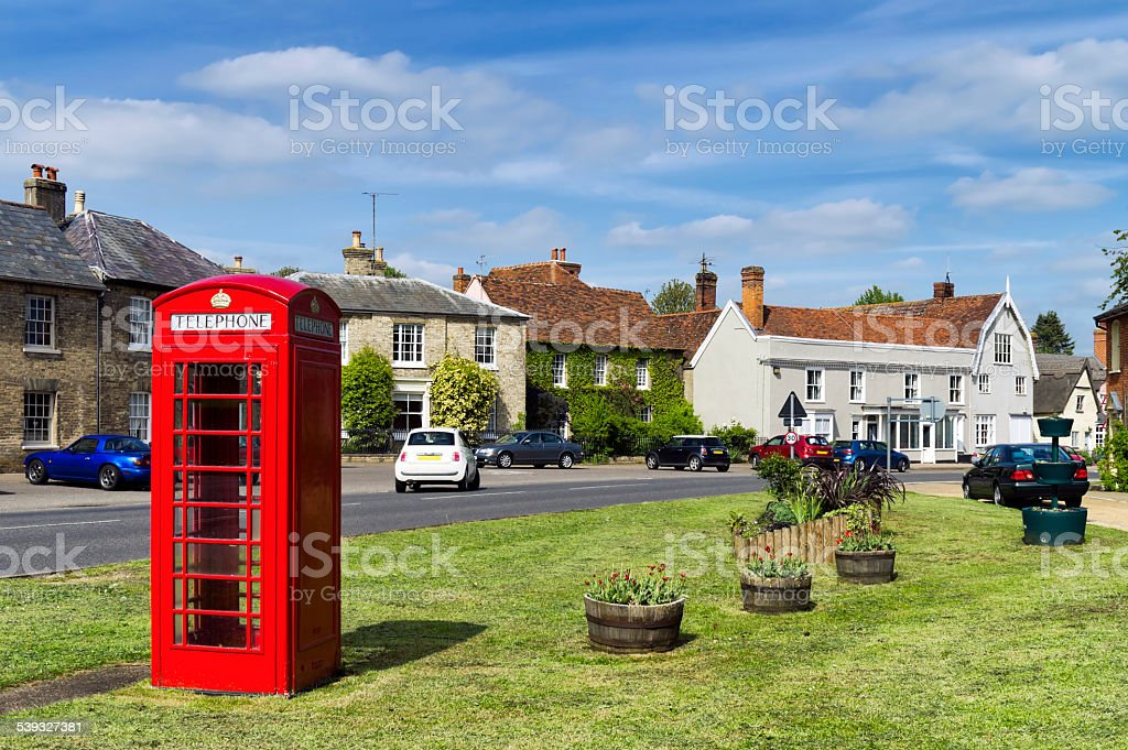 Traditional telephone box in High Street, Cavendish, Suffolk stock photo