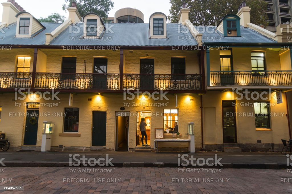 Traditional Terrace houses, The Rocks, the oldest area of the city, Sydney, NSW, Australia stock photo