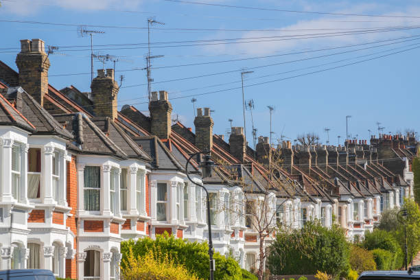 Traditional terraced houses around Crouch End area in London stock photo