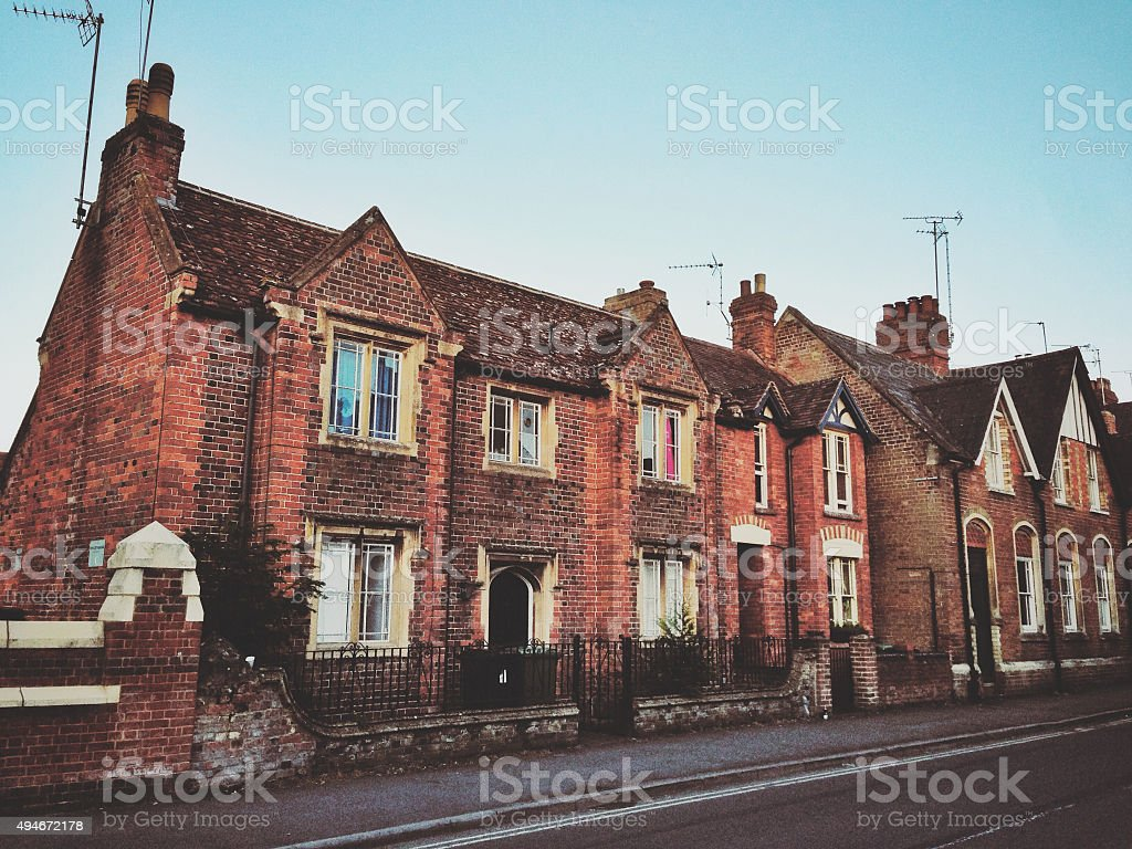 Traditional terraced houses in Oxfordshire, England stock photo