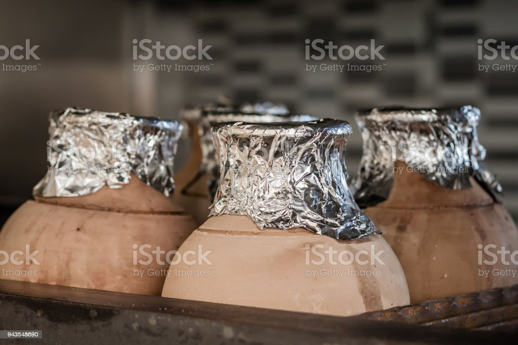 Traditional Testi Kebab Cooked in Clay Pot stock photo