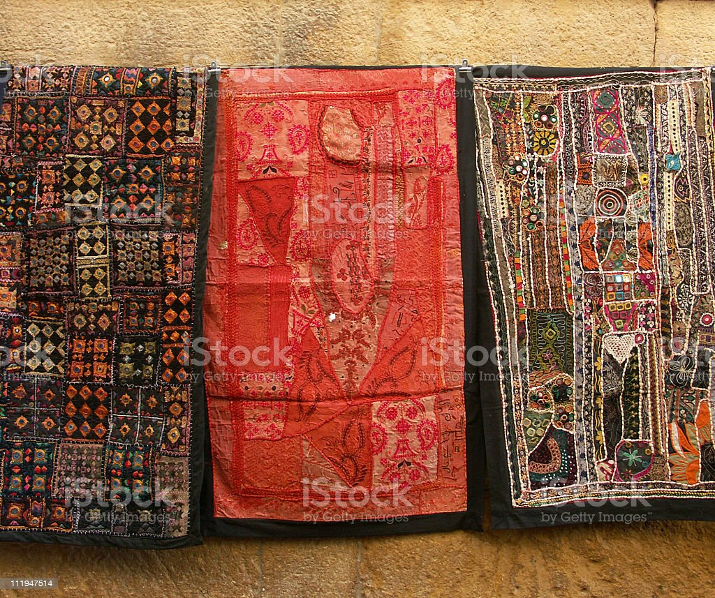 Traditional textile for sale,Jaisalmer,Rajasthan,India royalty-free stock photo